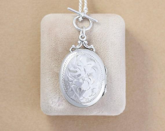 Vintage Sterling Silver Locket Necklace, Oval Picture Pendant - Beloved