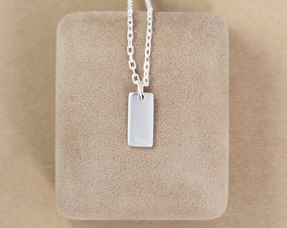 Plain Rectangle Sterling Silver Initial Necklace, Custom Hand Stamped Letter Charm - Tiny Tag