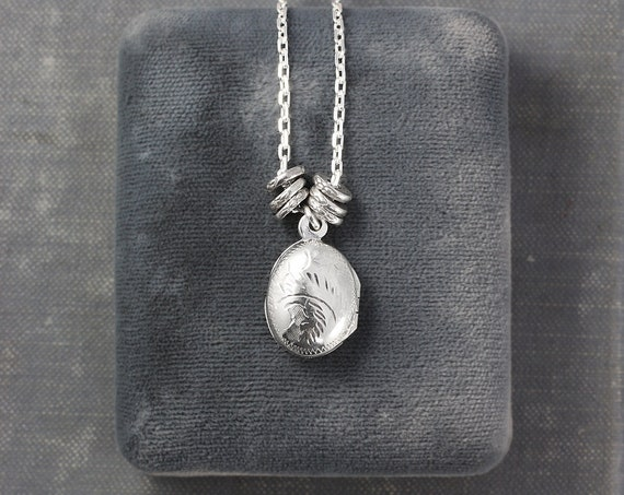 Sterling Silver Locket Necklace, Tiny Oval Photo Pendant with Unique Accent Beads - Drip of Silver