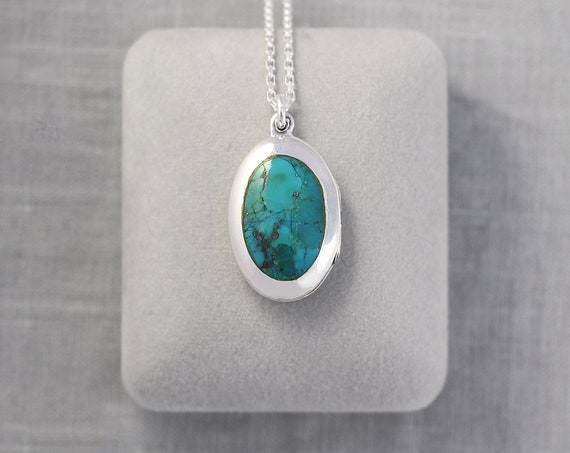 Vintage Sterling Silver Turquoise Locket Necklace, Stone Cabochon Photo Pendant - Teal Jewel