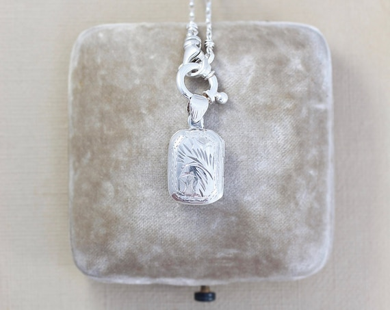 Sterling Silver Book Locket Necklace, Vintage Rectangular Picture Pendant with Special Guard Chain Necklace - Hidden Treasure