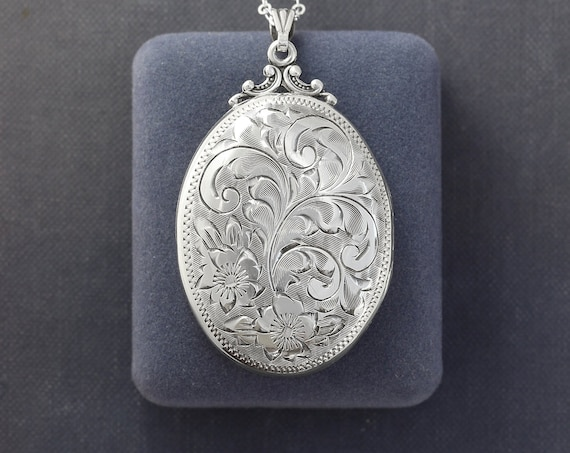 Vintage 1940's Sterling Silver Locket Necklace, Ornately Hand Chased Floral Design Large Oval Photo Pendant - You're Lovely