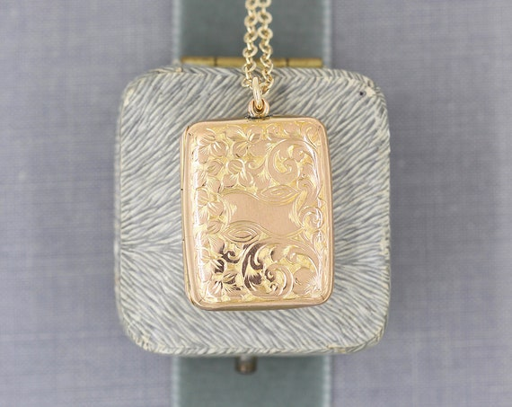 Antique Gold Book Locket Necklace, Gold Back & Front Hand Chased Photo Pendant - Our Story