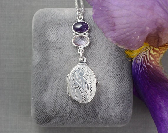 Amethyst Sterling Silver Locket Necklace, Small Oval Photo Pendant w/ February Birthstone - Ultra Violet