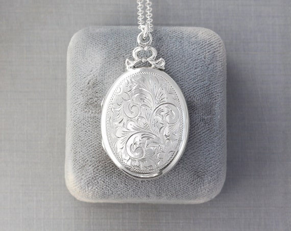 Vintage Circa 1940's Sterling Silver Locket Necklace, Hand Engraved Special Christmas Gift for Mom - Crowned in a Bow