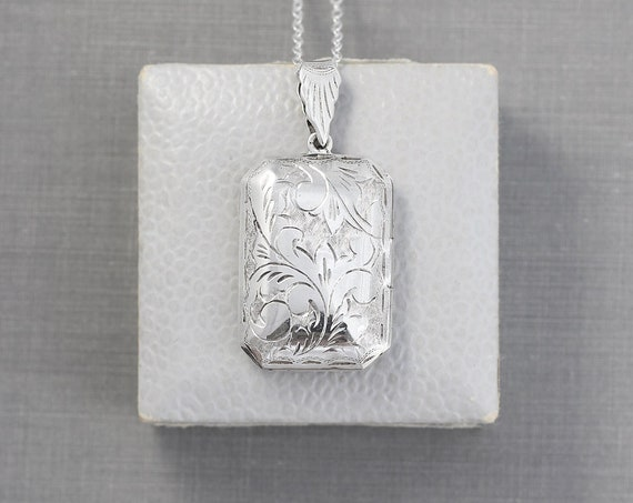 Silver Book Locket Necklace, Vintage Sterling Silver Rectangular Picture Pendant - Photo Cabinet
