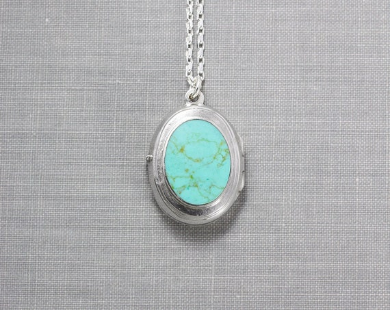 Turquoise Sterling Silver Locket Necklace, Stone Cabochon Vintage Photo Pendant - American Heritage
