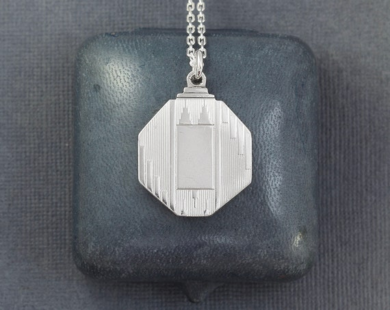 Vintage Sterling Silver Locket Necklace, Art Deco 1920's 1930's Octagonal Geometric Photo Pendant - Architectural