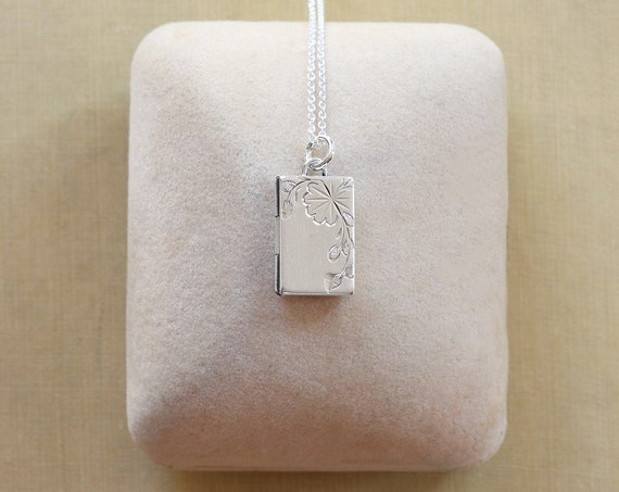 Small Sterling Silver Book Shaped Locket Necklace, Rectangle Hinged Photo Pendant - Trailing Vine