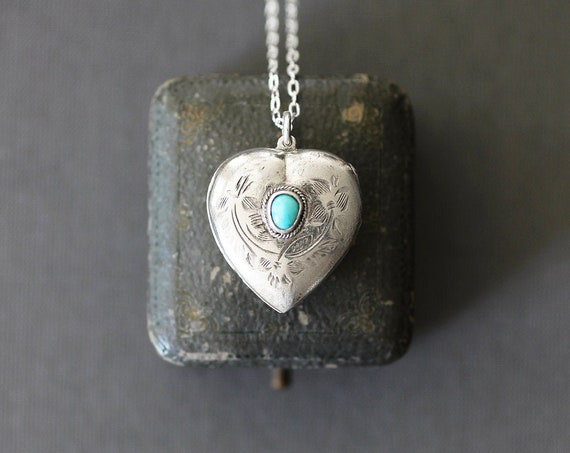 Antique Turquoise Silver Heart Locket Necklace, Tiny Turquoise Cabochon Set Locket Pendant - Enduring Love