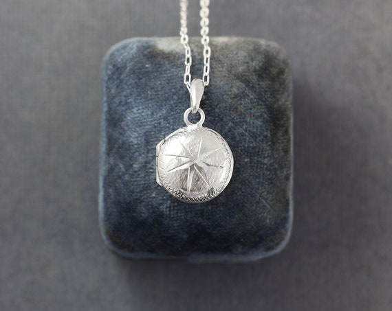 Mini Round Sterling Silver Starburst Locket Necklace, Rare Vintage Locket Pendant - Star Burst