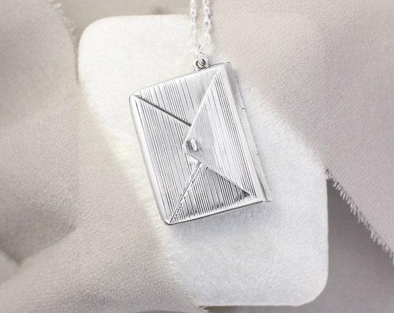 Vintage Sterling Silver Envelope Necklace, Love Message Hinged Striped Locket Pendant - Secret Message
