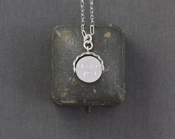 "Vintage ""I Love You"" Sterling Silver Spinner Charm Necklace, Special Gift for Loved One - Mystery Message"