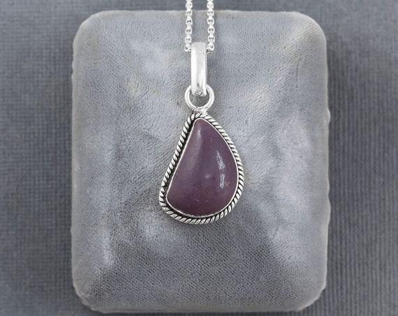 Rare Sterling Silver Phosphosiderite Pendant Necklace, Rope Edged Plum Gemstone Teardrop - Deep Purple