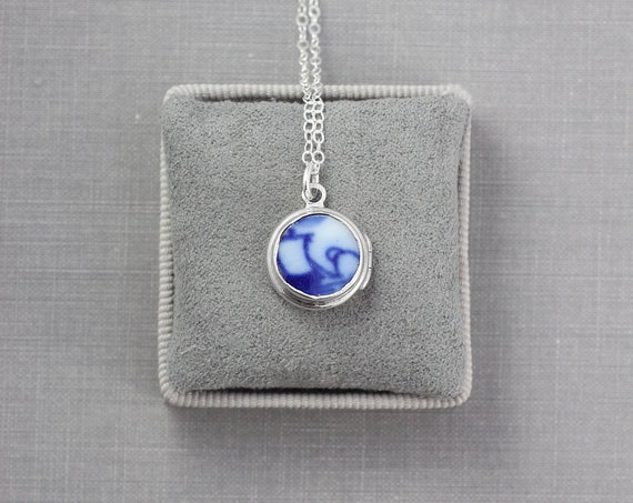 Blue & White Porcelain Sterling Silver Locket Necklace, Rare Small Round Vintage Pendant - Little Bit of Pattern