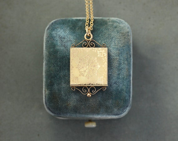 RESERVED Layaway Antique Gold Filled Square Snowflake Locket Necklace, Filigree Accented Drawer Photo Pendant - Golden Snow