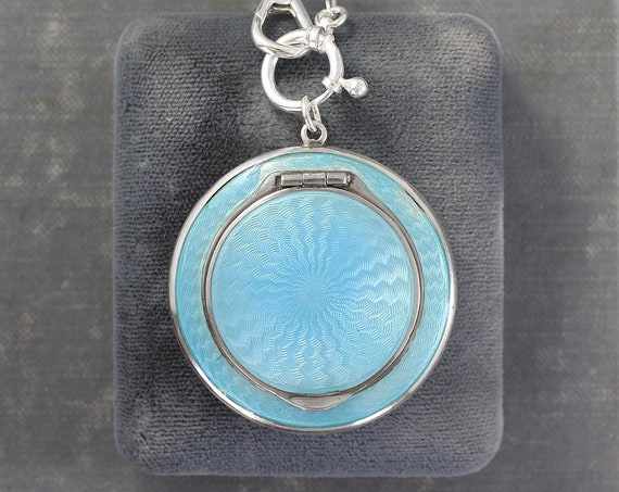 Antique Guilloche Enamel Compact Locket Necklace, Sterling Silver Guard Chain 1920's Statement Necklace - Aqua Blue