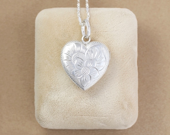 Sterling Silver Heart Locket Necklace, Flower Engraved Photo Pendant - Silver Bouquet