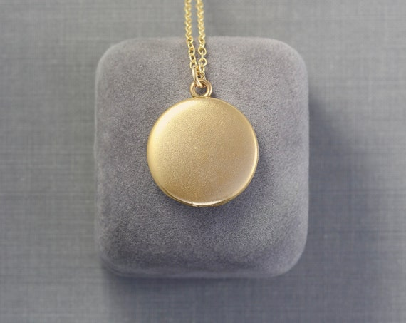 Antique Gold Locket Necklace, Small Plain Round Photo Pendant - Droplet of Gold