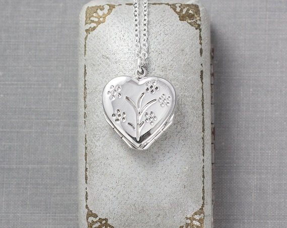 Small Four Photo Heart Sterling Silver Locket Necklace, 4 Picture Pendant - Family of Four