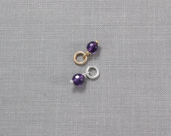 Tiny Purple Amethyst Charm, Sterling Silver or 14k Gold Filled Charm February Birthstone - Add a Dangle