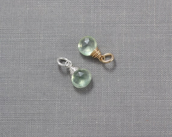 Prehnite Charm, 14K Gold Filled or Sterling Silver Wire Wrapped Gemstone Faceted Briolette Pendant - Add a Dangle
