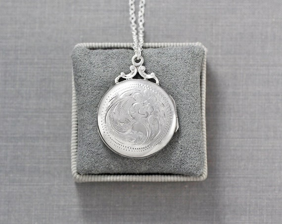 Birks Sterling Silver Locket Necklace, Small Round Vintage Photo Pendant - My Buttercup
