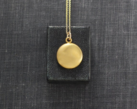 Antique Gold Locket Necklace, Small Plain Round Photo Pendant - Golden Drop