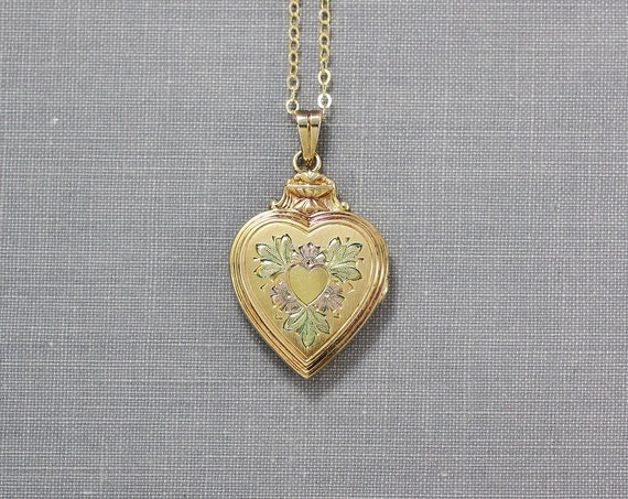 Gold Filled Heart Locket Necklace, Classic Hayward Vintage Pendant with Original Bail - Classic Heart