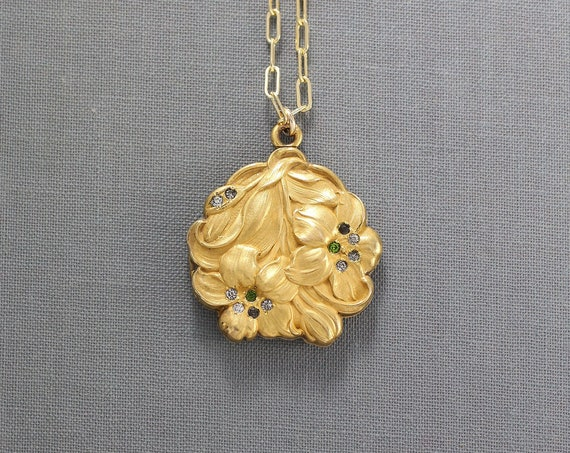 Antique Gold Locket Necklace, Rare Floral Art Nouveau Paste Stone Photo Pendant - Lovely Lilies
