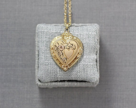 12k Gold Filled Heart Locket Necklace, Classic Hayward Vintage Pendant with Original Bail - Cherish