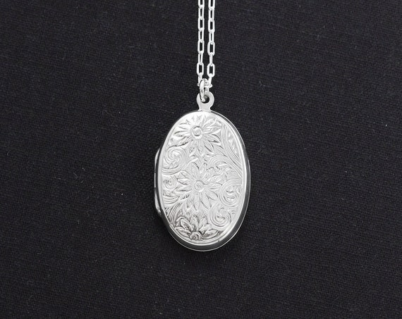 Sterling Silver Locket Necklace, Daisy Engraved Oval Photo Pendant - Friendly Flower