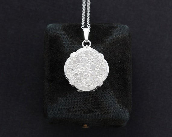 Small Round Bubble Locket Necklace, Sterling Silver Scallop Edged Photo Pendant - Like the Wind