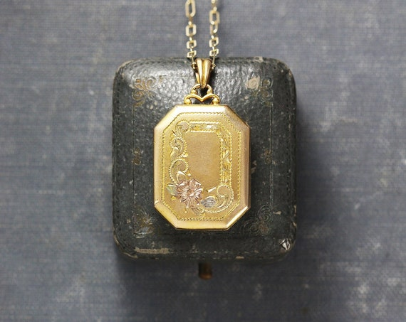 Vintage Gold Filled Locket Necklace, Book Shaped Pendant with Fancy Top - Golden Memories