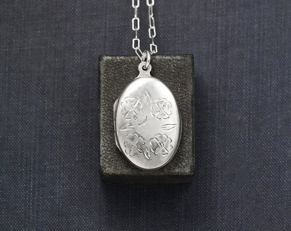 "Small Oval Sterling Silver Locket Necklace Long 25"" Chain, Floral Engraved Photo Pendant - Wreath of Roses"