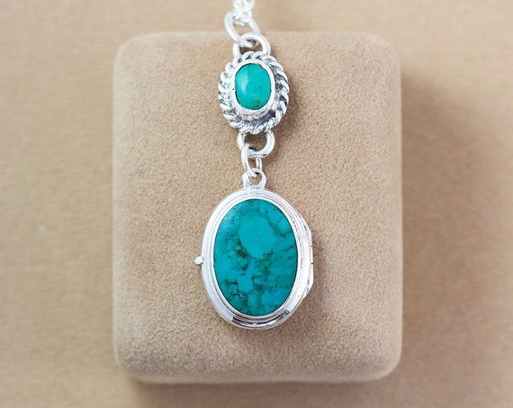 RESERVED LAYAWAY Turquoise Sterling Silver Locket Necklace, Stone Cabochon Vintage Photo Pendant - American Heritage