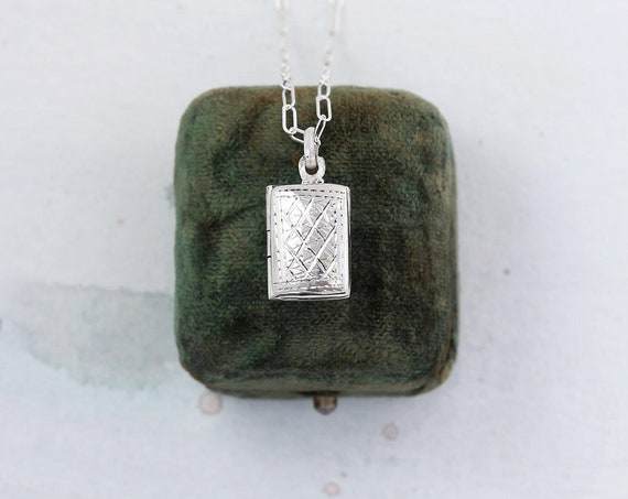 Sterling Silver Locket Necklace, Tiny Book Shaped Photo Pendant on Mini Paperclip Chain - Simplicity