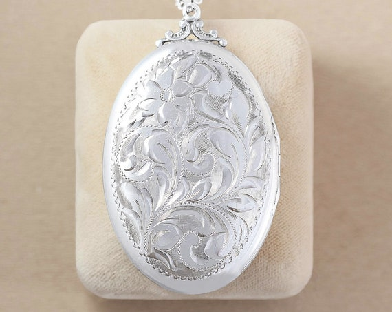 Extra Large Sterling Silver Locket Necklace, Rare Double Side Engraved Beautiful Oval Photo Pendant - Nostalgic Beauty