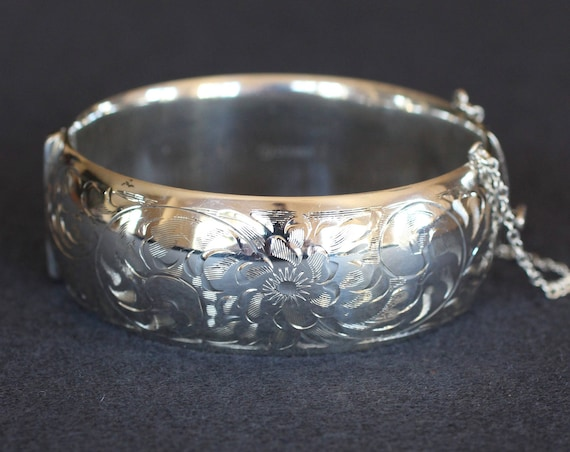 Large Sterling Silver Bangle Bracelet, Vintage Birks Swirling Vine and Floral Engraved Wide Cuff Bracelet - English Garden