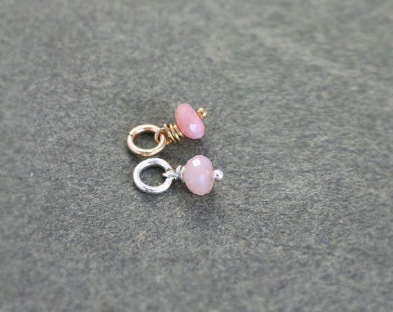 Pink Peruvian Opal Charm, Sterling Silver or 14k Gold Filled Wire Wrapped Gemstone Tiny Pendant - Rose of Peru