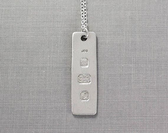 Large Rectangle Sterling Silver Ingot Necklace, 1977 London Vintage Bullion - Lion's Head