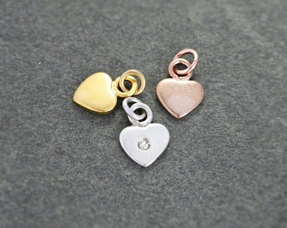 Small Initial Heart Charm, Sterling Silver, Yellow Gold Vermeil, or Rose Gold Vermeil Artisan Pendant - Add a Dangle