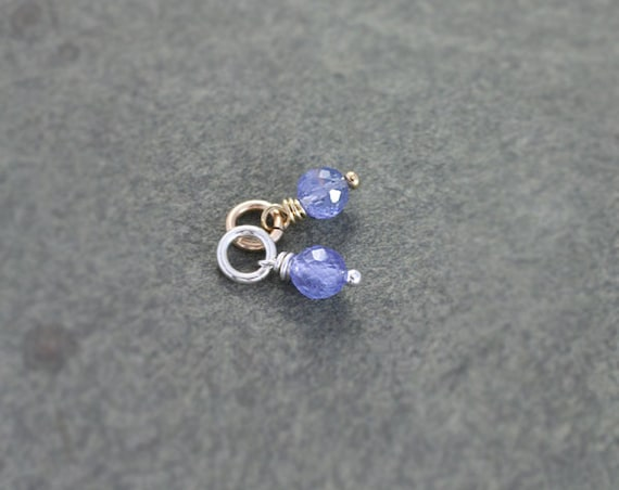 Tiny Tanzanite Pendant, Sterling Silver or 14k Gold Filled Gemstone Charm - Add a Dangle