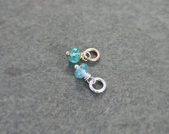 Tiny Aqua Blue Apatite Charm Pendant, Sterling Silver or 14k Gold Filled Wire Wrapped Gemstone - Add a Dangle