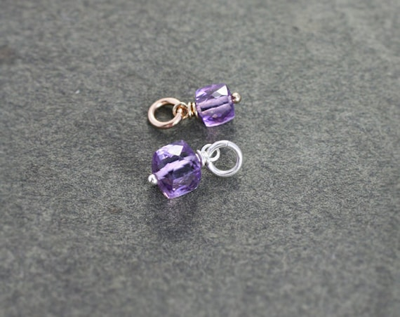 Tiny Amethyst Faceted Cube Charm, Sterling Silver or 14k Gold Filled Wire Wrapped February Birthstone - Add a Dangle