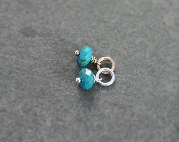 Tiny Turquoise Charm Pendant, Sterling Silver or 14K Gold Filled Tiny December Birthstone - Add a Dangle