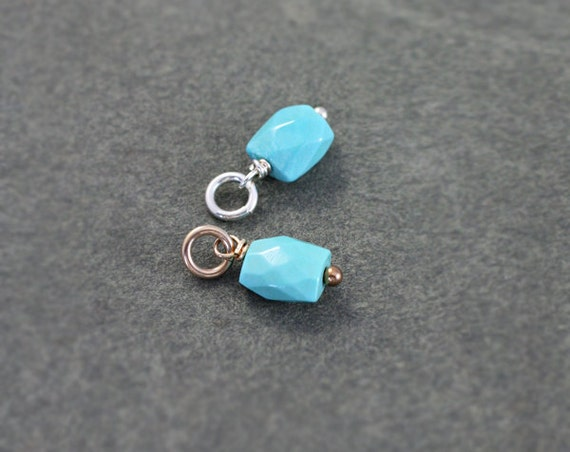 Arizona Turquoise Charm Pendant, Sterling Silver or 14k Gold Filled Wire Wrapped Faceted Rectangle - Add a Dangle