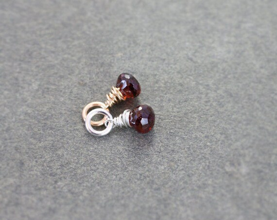 Garnet January Birthstone Pendant, Sterling Silver or 14 Karat Gold Filled Gemstone Jewelry - Add a Dangle