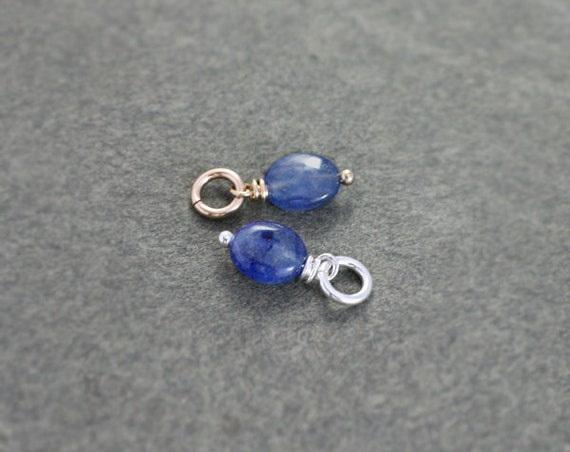 Sapphire September Birthstone Pendant, Sterling Silver or 14k Gold Filled Gemstone Charm - Add a Dangle