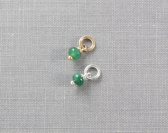 Emerald May Birthstone Charm Pendant, Sterling Silver or 14K Gold Filled Wire Wrapped Gemstone - Add a Dangle